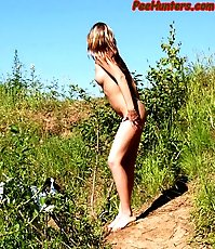 Beautiful shaved teen peeing outdoor
